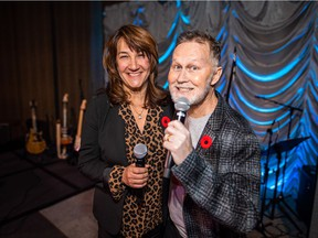 Pictured with reason to smile at BANC (Benevolent Artists National Coalition) UnButtoned concert  at Hotel Arts are Jim and Tracey Button. The event raised funds and much need awareness for a $5-million  Button-led chair in pediatric psychosocial oncology and survivorship at the University of Calgary. Courtesy, Neil Zeller Photography