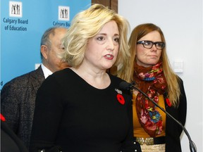 Marilyn Dennis, Chair of the Board of Trustees for the Calgary Board of Education, speaks at a press conference in response to the new UCP budget that the CBE says leaves them with $32 million less than last year.