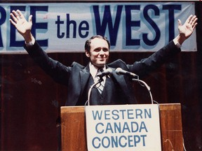 Doug Christie, founder of the Western Canada Concept party, speaks at a rally at Edmonton's Jubilee auditorium on Nov. 24, 1980.
