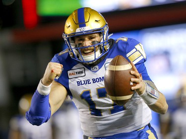 Winnipeg Blue Bombers, Chris Streveler celebrates a TD pass in first half action against the Hamilton Tiger Cats at McMahon stadium during the 107th Grey Cup in Calgary on Sunday, November 24, 2019. Darren Makowichuk/Postmedia