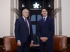 Prime Minister Justin Trudeau meets with Premier of Newfoundland and Labrador the Dwight Ball on Parliament Hill in Ottawa on Tuesday, Nov. 26, 2019.