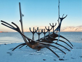The steel Sun Voyager sculpture on the waterfront in Reykjavik, Iceland. Created by Icelandic sculptor Jon Gunnar Arnason as a dream boat, it is an ode to the sun.