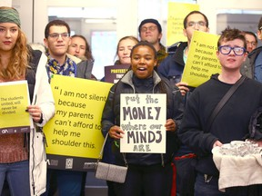 University of Calgary students protest tuition hikes during a demonstration at the administration building on campus on Jan. 10, 2020.