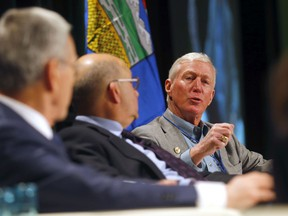 L-R, Honorable Joe Oliver, Dr. Jack Mintz and Dr. Ted Morton speak at the Economic Value of Alberta panel during the Value of Alberta conference at the Telus Convention Centre in Calgary on Saturday, January 18, 2020.
