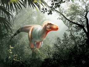 Artist's impression of Thanatotheristes degrootorum, a newly discovered species of tyrannosaur in Alberta.