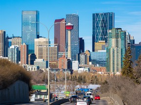 The downtown Calgary skyline was photographed on provincial budget day, Thursday, February 27, 2020.  Gavin Young/Postmedia