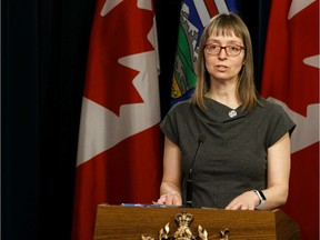 Dr. Deena Hinshaw, chief medical officer of health, during a news conference about the COVID-19 pandemic at the Alberta Legislature in Edmonton, on Wednesday, March 25, 2020.