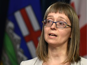 Alberta's chief medical officer of health, Dr. Deena Hinshaw giving an update on the novel coronavirus during a news conference at the Alberta Legislature in Edmonton, March 2, 2020.