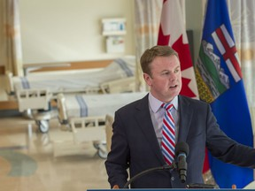 Minister of Health Tyler Shandro at the Mazankowski Alberta Heart Institute to announce $100 million investment in Alberta operating rooms on March 3, 2020. Photo by Shaughn Butts / Postmedia