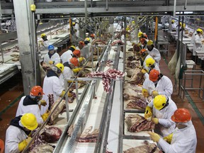 The inside of the JBS Foods packing plant at Brooks.