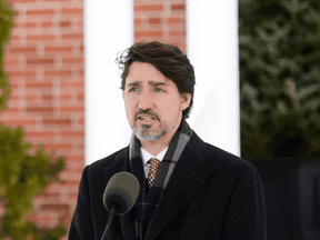 Prime Minister Justin Trudeau addresses Canadians on the COVID-19 pandemic from Rideau Cottage in Ottawa on April 17, 2020.
