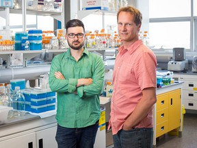 University of Calgary scientists Casey Hubert, left, is among University of Calgary researchers working with AHS and city officials to test wastewater from throughout the city for traces of SARS-CoV-2.