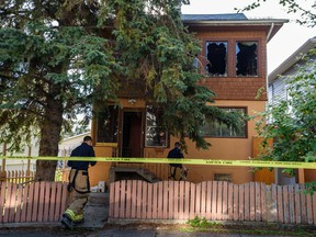 Calgary fire department is investigating the aftermath of a fire in Bridgeland at 100 block of 9A Street N.E. on Thursday, July 16, 2020. One male resident who was transported to the hospital with life-threatening conditions died from severe injuries.