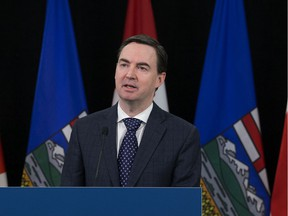 Minister of Labour and Immigration Jason Copping announces changes to the Employment Standards Code, during a press conference in Edmonton Monday April 6, 2020. Photo by David Bloom.