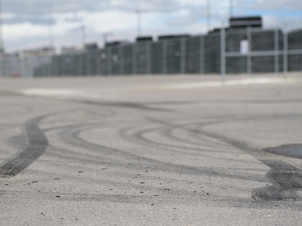 File photo: Pictured are skid marks left by street car racers in an industrial parking in southeast Calgary on Wednesday, June 19, 2019.