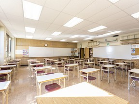 Pictured is a classroom in Henry Wise Wood High School that could accommodate a cohort of up to 38 students on Friday, Aug. 28, 2020.