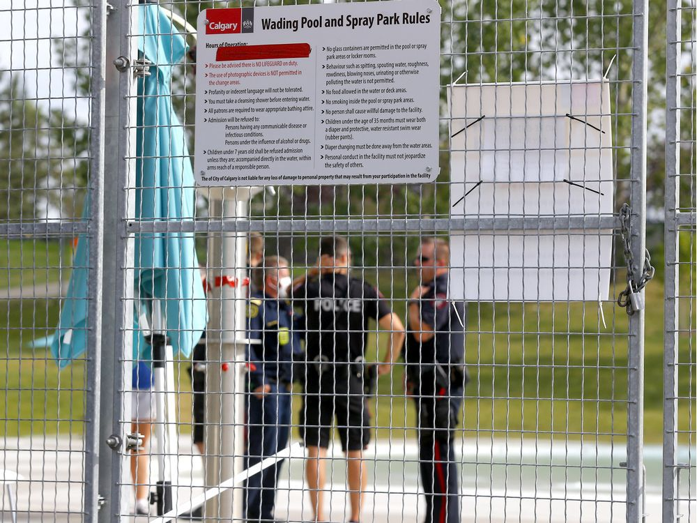 Calgary fire, EMS and police respond to a potential drowning at the wading pool in Prairie Winds Park on Thursday.