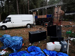 Equipment is seen at Thetford Forest after police shut down a suspected illegal rave, in Norfolk, Britain, August 30, 2020.