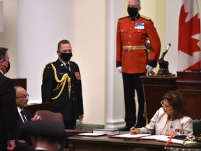 Salma Lakhani makin it official as she is installed as the 19th Lieutenant Governor of Alberta during the installation ceremony at the Alberta Legislature Building in Edmonton, August 26, 2020.