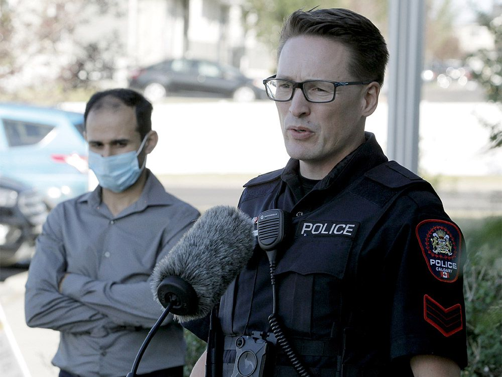 Acting Staff Sergeant Lon Brewster and Fahim Mirza, the father of the victim, plea to public for any information on the occupants of a silver sedan, now believed to be a Toyota Camry, involved in a road rage incident that left a young girl with severe burns to her face and shoulder after a hot beverage was thrown into the vehicle. District 5 Police Station. Thursday, August 27, 2020.