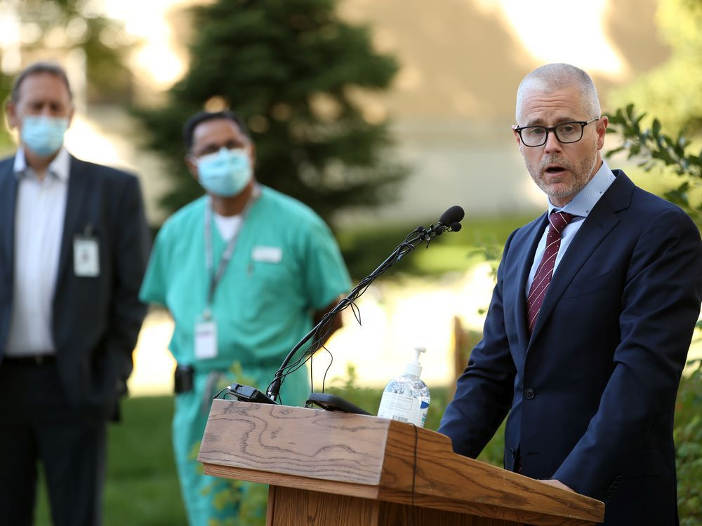 Dr. Andrew Daly speaks about a new investment in cancer care at the Foothills Medical Centre in Calgary on Monday, August 24, 2020.