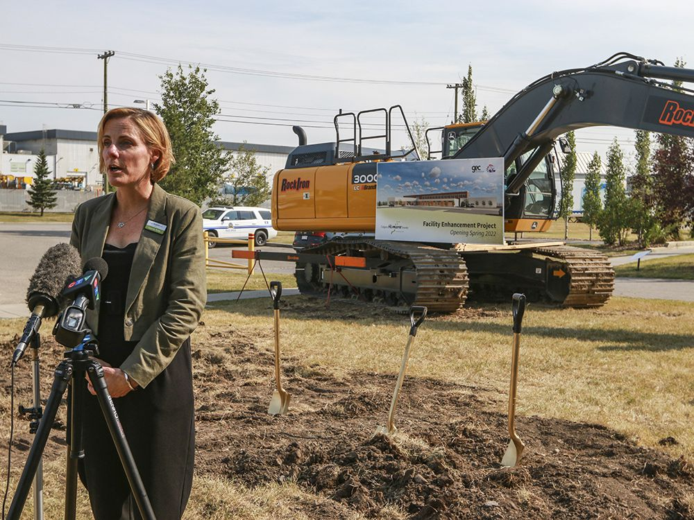 Carrie Fritz, executive director for the Calgary Humane Society, speaks with media at the ground-breaking ceremony for the organization's facility enhancement project on Thursday, Aug. 20, 2020.