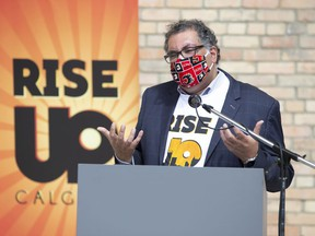 Mayor Naheed Nenshi speaks during the Calgary Rise Up launch announcement on Thursday, August 13, 2020.