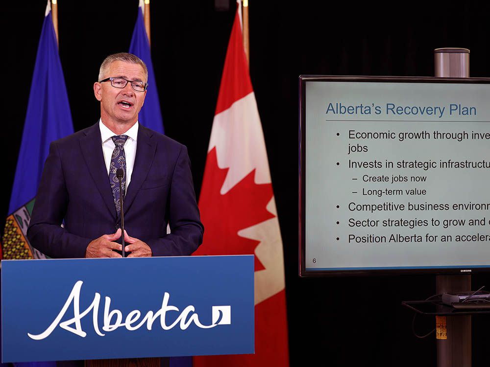 Alberta Finance Minister Travis Toews presents the province's first quarter fiscal update on Aug. 27, 2020. Alberta's deficit is forecast to hit $24.2 billion in the wake of the COVID-19 economic fallout.