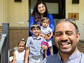 """Thusenth Dhavaloganathan with his wife Amina Gilani and their children Zain, Zara and Aziz. The couple created a startup that is a """"Shopify for restaurants."""""""