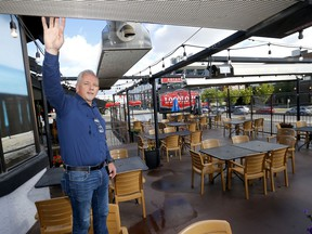 Gary Maskell, general manager of Loco Lou's, shows the heaters on his patio in Calgary on Monday, September 7, 2020.
