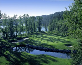 Several holes at Valley Ridge sit along the banks of the Bow River, highlighted by the serene green-site at No. 8.