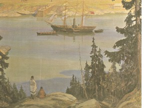 The S.S. Beaver Anchored Off Fort Victoria, 1846. From the painting by A Sherriff Scott, R.G.A.