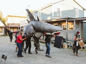 On the set of The Ballad of Sharkasaurus. Courtesy, Mike Tan.
