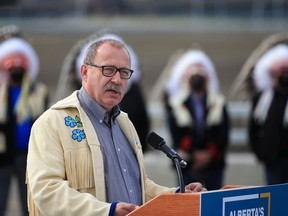 Alberta Transportation Minister Ric McIver speaks at the opening of the Tsuut'ina Trail section of the southwest Calgary ring road on Thursday, October 1, 2020.