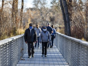 Two masked pedestrians walk on a bridge at St. Patrick's Island Park on Sunday, Nov. 1, 2020.