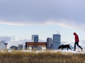A Pedestrian and her dog walk along the pathway in Valleyview Park with the Calgary skyline under the Chinook arch in the background on Friday, November 20, 2020.