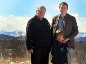 FILE PHOTO: Beaver Drilling then-President Brain Krausert, left, was photographed with his son Kevin Krausert and grandson Palmer Rallison, 7, on April 9, 2014 in Turner Valley. Kevin Krausert has recently resigned as president and CEO of Beaver Drilling Ltd.