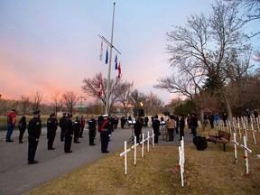 A sunrise remembrance ceremony at the Field of Crosses on Thursday, November 5, 2020 honoured media killed covering combat. Calgary Herald reporter Michelle Lang who was killed with four soldiers in a 2009 IED explosion in Afghanistan.
