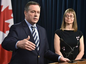 Premier Jason Kenney speaks at the daily COVID-19 update with Alberta's chief medical officer of health, Dr. Deena Hinshaw, on March 13, 2020.