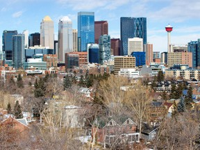 Homes in Calgary's Beltline and Mission neighbourhoods extend out from the downtown core on Monday, March 2, 2020.