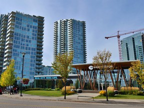Recently constructed buildings in Calgary's East Village are seen on Tuesday, Sept. 22, 2020.