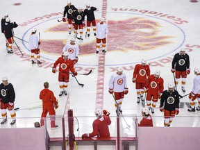 The Calgary Flames take part in training camp at the Scotiabank Saddledome on Wednesday, Jan. 13, 2021.