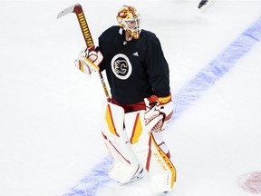 Jacob Markstrom during Calgary Flames practice at the Saddledome on Friday, Jan. 15, 2021.