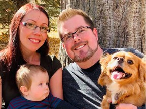 Dara Christensen and Kurt Fraser with their 13-month-old son Brandon and dog Sadie. Sunday, January 24, 2021. Photo/ Supplied