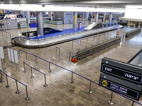 This picture taken on Jan. 24, 2021, shows a view of the empty baggage-claim area at the terminal of Israel's Ben-Gurion International Airport in Lod, near Tel Aviv.