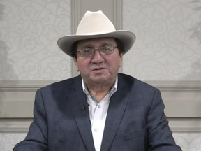 Chief Roy Fox addressess members of the Blood Tribe Nation via video on new restrictive measures brought in to curb the spread of COVID-19 on Jan. 15, 2021.