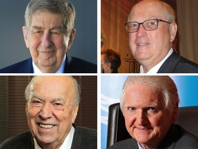 From top left, clockwise: Ken Stephenson, Mike Tims, Ron Mannix and the late Sam Switzer have been inducted into the Alberta Business Hall of Fame.
