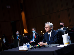 Attorney General nominee Merrick Garland listens during his confirmation hearing before the Senate Judiciary Committee in the Hart Senate Office Building on February 22, 2021, in Washington, DC