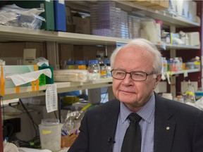 Dr. Lorne Tyrrell, founding director of the Li Ka Shing Institute of Virology in a lab on the University of Alberta campus. The Li Ka Shing Institute of Virology is involved in the critical work to help stop the spread of the novel Coronavirus on February 10, 2020. Photo by Shaughn Butts / Postmedia