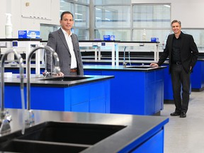 Brad Stevens, left and Brad Sorenson with Northern RNA were photographed at the company's northeast Calgary facility on Monday, January 25, 2021.